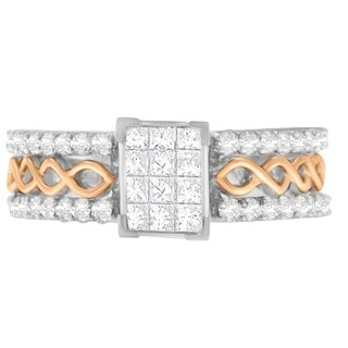 14k Two-Toned Gold 1ct. TDW Round and Princess Cut Diamond Composite Ring (H-I, SI2-I1) - White