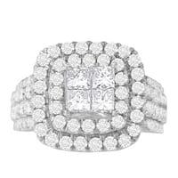 14k White Gold 2 1/4ct TDW Round and Princess Diamond Ring (H-I, SI1-SI2)