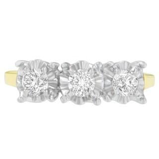 10K Two-Toned Gold 0.5 ct. TDW Round Cut Diamond Ring(H-I,I3) - White