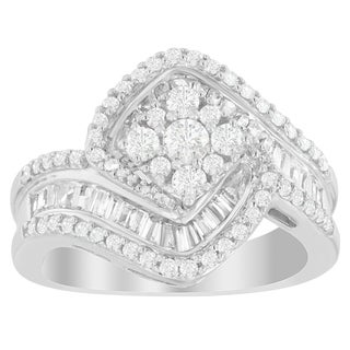14K White Gold 1ct. TDW Round and Baguette-cut Diamond Ring (H-I,SI2-I1)