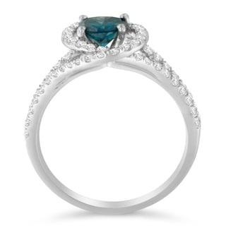 14k White Gold 1 1/3 ct TDW White and Treated Blue Round Cut Diamond Ring (G-H,SI2-I1)