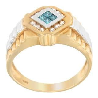 14K Two Toned Men's 1/2ct TDW Round And Princess Cut Diamond Ring(H-I,I1-I2) - Blue/White