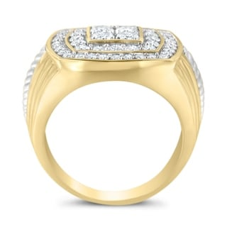14k Yellow Gold 2ct TDW Round Diamond Pentagon Men's Ring (H-I, I1-I2) - White