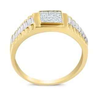 14K Two-Toned gold 0.28 ct. TDW Princess Cut Diamond Ring(H-I, SI2-I1) - White