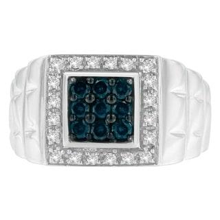 14K White Gold 0.75 ct. TDW Round Cut Diamond Ring (I-J,I1-I2) - Blue