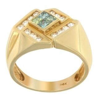 14K Yellow Gold 1.32ct. TDW White and Treated Blue Princess-cut Diamond Men's Ring (H-I,SI2-I1)