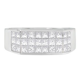 14k White Gold 2 1/2 ct TDW Princess Diamond Cluster Ring (G-H, VS1-VS2)
