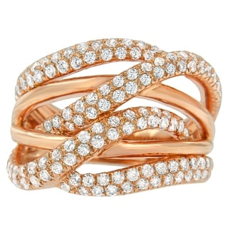 10K Rose Gold 1 1/2ct. TDW Round-cut Diamond Ring (H-I,I1-I2) - White