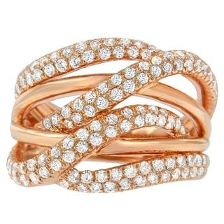 10K Rose Gold 1 1/2ct. TDW Round-cut Diamond Ring (H-I,I1-I2) - White