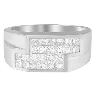 14k White Gold 2 ct TDW Princess Diamond Cluster Ring (G-H, VS2-SI1) (Option: 11.25)