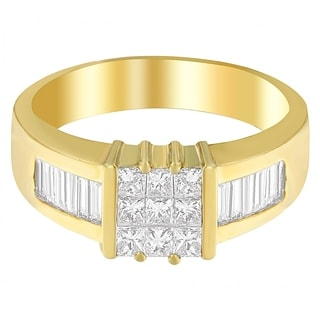 14K Yellow Gold 1 1/2 ct. TDW Princess and Baguette-cut Diamond Ring (G-H, VS1-VS2) - White