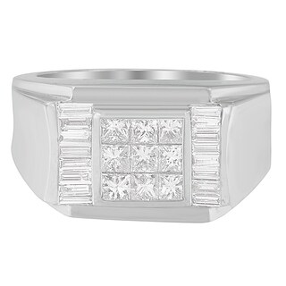 14K White Gold 1 5/8 ct. TDW Princess and Baguette-cut Diamond Ring (G-H, VS2-SI1) (Option: 10.75)