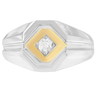 14K Two-Toned Gold 0.2 ct. TDW Round Cut Diamond Ring (H-I, SI2-I1) - White