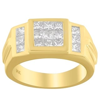 14K Yellow Gold 2ct. TDW Princess-cut Diamond Ring (G-H,SI1-SI2)