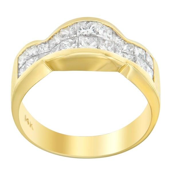 14k Yellow Gold 1 1/3 ct TDW Princess Diamond Cluster Ring (G-H, SI1-SI2)