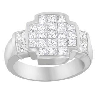 14k White Gold 2 1/4 ct TDW Princess Diamond Cluster Ring (G-H, VS1-VS2)