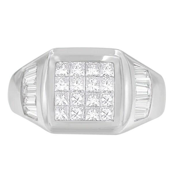 14K White Gold 1 1/2 ct. TDW Princess and Baguette-cut Diamond Ring (G-H, VS1-VS2)