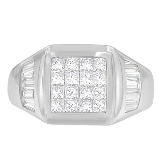 14K White Gold 1 1/2 ct. TDW Princess and Baguette-cut Diamond Ring (G-H, VS1-VS2)
