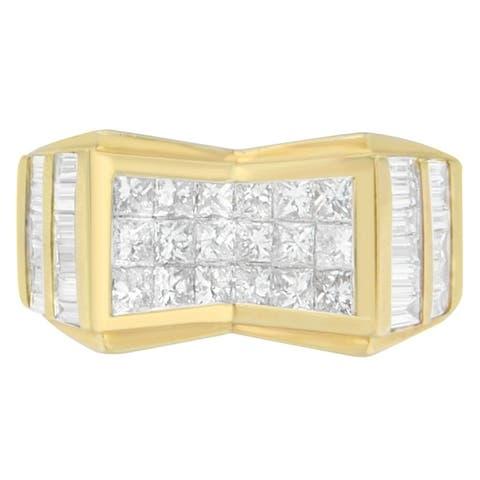 14K Yellow Gold 3.64 ct. TDW Princess and Baguette-cut Diamond Ring (G-H, VS2-SI1)