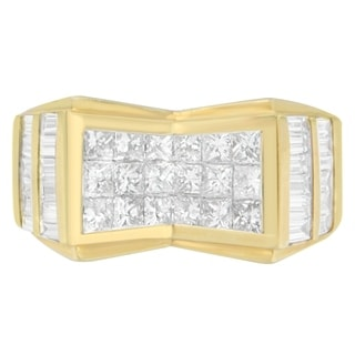 14K Yellow Gold 3.64 ct. TDW Princess and Baguette-cut Diamond Ring (G-H, VS2-SI1) - White