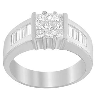 14K White Gold 1 1/2ct. TDW Princess and Baguette-cut Diamond Ring (G-H,VS1-VS2)