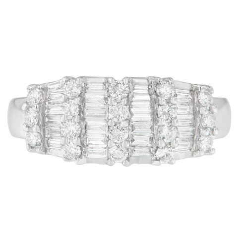 14K White Gold 1 ct. TDW Round and Baguette-cut Diamond Ring (G-H, SI2-I1)