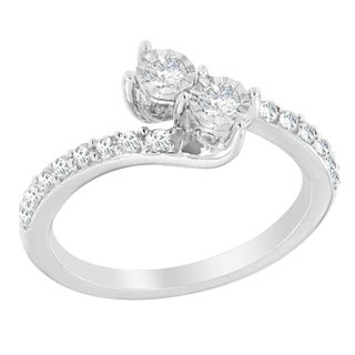 10K White Gold 1/2ct. TDW Round-cut Diamond Ring (H-I,I2-I3)