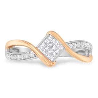 10k Two-Toned Gold 0.28 ct. TDW Round and Princess Cut Diamond Fashion Ring (H-I, SI2-I1) - White