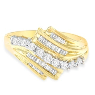 10k Yellow Gold 1/2ct TDW Round and Baguette Diamond Cut Ring(K-L,I2-I3) - White