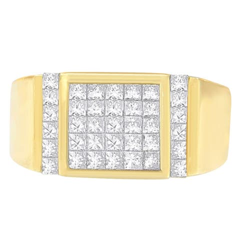 14k Yellow Gold 2 ct TDW Princess Diamond Cluster Ring (G-H, VS1-VS2)
