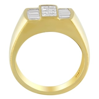 14K Yellow Gold 1 3/8 ct. TDW Princess and Baguette-cut Diamond Ring (G-H, VS1-VS2) - White