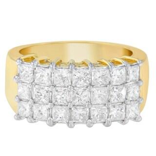14K Yellow Gold 2 ct. TDW Princess Cut Diamond Ring (G-H, SI1-SI2) - White