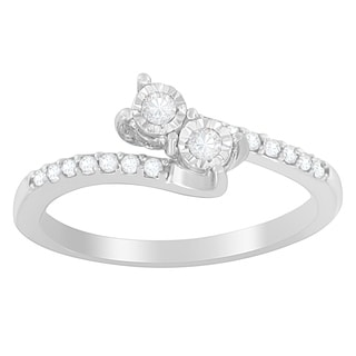 10K White Gold 1/4ct. TDW Round-cut Diamonds Ring (H-I,I2-I3)