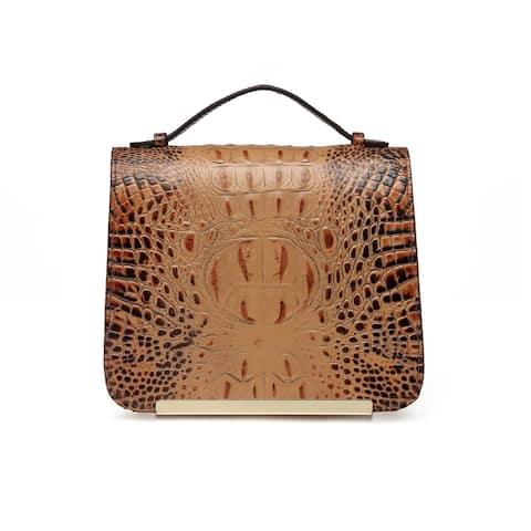 Inaya Croc Embossed Leather Crossbody Handbag - S