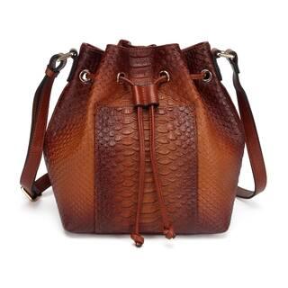 Danielle Lizard print Leather Bucket Bag - Brown - S|https://ak1.ostkcdn.com/images/products/17952667/P24130405.jpg?impolicy=medium