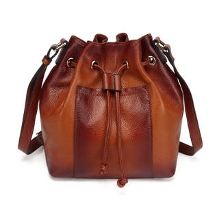 Donnie Leather Bucket Bag - Brown - S|https://ak1.ostkcdn.com/images/products/17952674/P24130408.jpg?impolicy=medium