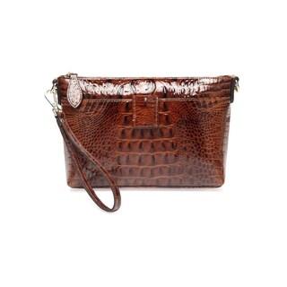 Lena Croc Embossed Leather Crossbody Handbag - Red - S