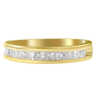18K Yellow Gold 1/2ct. TDW Princess-cut Diamond Ring (G-H,I1-I2) - White