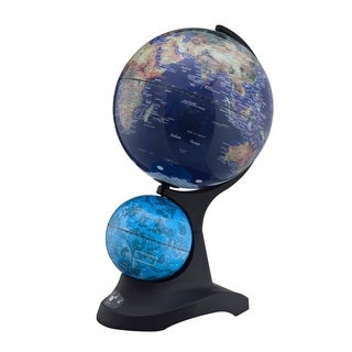 Dual Globe with Constellation, Black Acrylic Base, 17.5-inch