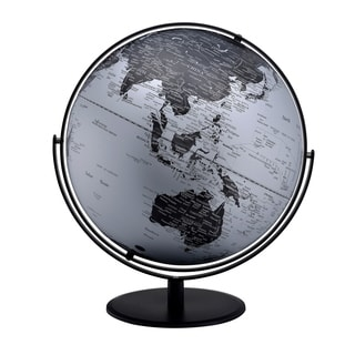 3D Globe with Metal Mountain Features, 20.5-inch, Black/Silver with Black Metal Frame