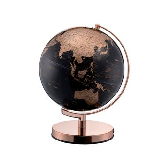 Black and Gold Decorative Globe on Rose Gold Metal Frame, 12.5-inch