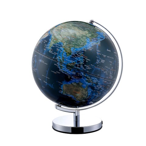 True Outward Blue Globe with City Lights On Chrome Frame, 15-inch