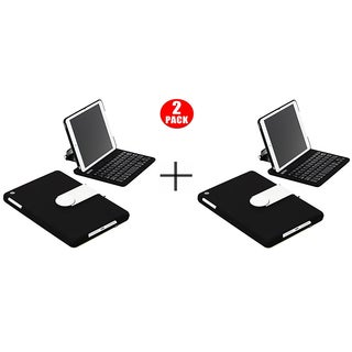 Sharkk iPad Mini 4 Bluetooth Wireless Keyboard Folio 360 Degree Case - Black (2 Pack)