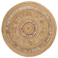 Earth First Jute Stitched Round Rug - 5x5'