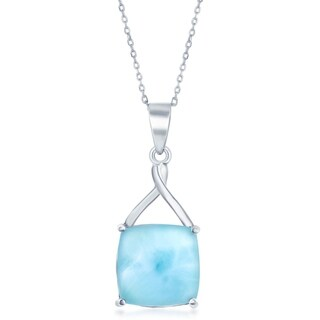 La Preciosa Sterling Silver High Polish Natural Larimar Square Stone Four Prong Necklace - Blue