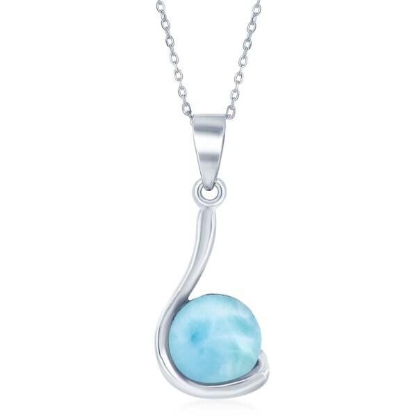 La Preciosa Sterling Silver High Polish Natural Larimar Round Stone Swirl Design Necklace - Blue