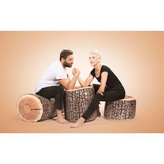 Wood Design Bean Bag Pouf