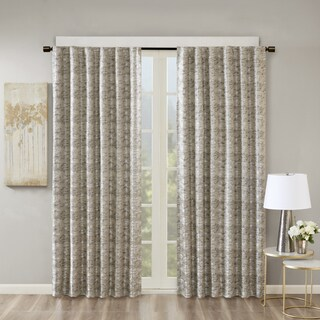 SunSmart Odessa Marble Jacquard Total Blackout Rod Pocket/ Back Tab Curtain Panel