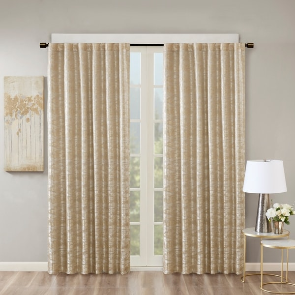 Luxury Gold Tan Jacquard Total Blackout Rod Pocket Back Tabs Curtain Panel Home Garden Window Treatments Hardware