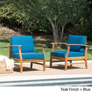 Perla Outdoor Acacia Wood Club Chair with Cushion (Set of 2) by Christopher Knight Home (Option: Teak Finish + Blue)